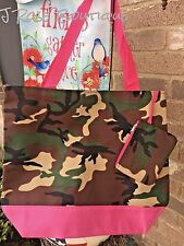 Pink TIMBER DIAPER Tote Bag Purse Shopper Mossy BEACH Camouflage Camo Embroidery
