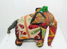 Hand-Crafted Anglo Raj Vintage Stuffed Cotton Embroidered Elephant, India 50's