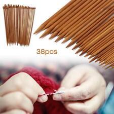 18 Sizes 36Pcs Carbonized Bamboo Single Point Knitting Needles Smooth Crochet #K