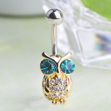 Gold Owl Animal Drop Body Piercing Belly Button Ring Dangly Reverse Navel Bars