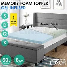 Memory Foam Mattress Topper COOL GEL BAMBOO Cover 8CM Underlay