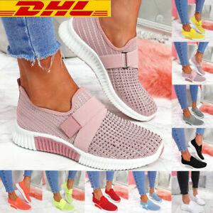 Damen Sports Sneakers Turnschuhe Laufschuhe Strasssteine Sockenschuhe Freizeit