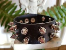 leather studded bikie black bracelets 30 mm / 22 cm
