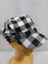 2 Tone Checker Black Hat Cap Derby Mod Beret Beanie Funky Newsboy Beatnik Cabbie