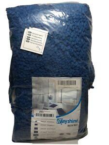 "2 pc, Microfiber Bathroom Rug Mat Soft Shaggy, U Shape & Rectangle 20x32"", Blue"