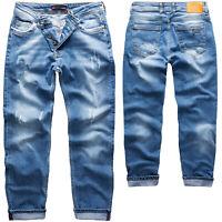 Rock Creek Herren Jeans Herrenjeans Hose Blau Slim Fit Used-Look Denim RC-2163