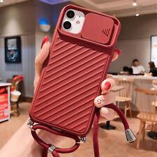 Para iPhone 11 Pro Max XS XR X 8 Slide Camera Protect Lanyard Funda de silicona