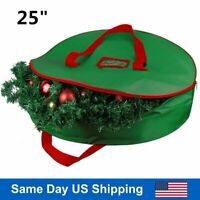 "New Green Christmas Xmas Wreath Storage Bag with Handles for 25"" Wreath Clean up"