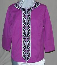 BOB MACKIE WEARABLE ART ZIPS  EMBROIDERED JACKET FRONT POCKETS BEADS BERRY  LAR