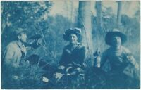 Women & Man Drink on Picnic in Woods 1908 Cyanotype Real Photo Postcard