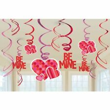 12 Valentines Day Party Be Mine Red Heart Value Pack Hanging Swirl Decoration