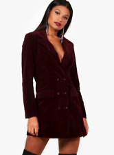 New Boohoo Phoebe Burgundy Velvet Double Breasted Blazer Tux Dress RRP £35 8-14