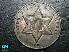 NICE COLOR! 1861 3 Cent Silver Piece  --  MAKE US AN OFFER!  #B5366