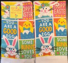 Set Of 2 Easter Spring Bunny Chicks Egg Pastel Kitchen Hand Tea Towels Clot