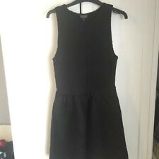TOPSHOP Women's Black Ribbed Skater Dress Size 12, Good Condition