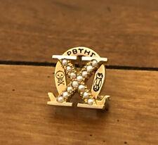 Chi Omega Sorority Badge - Pearls 10K Yellow Gold Vintage Greek Pin 1915 Dated