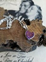 vintage Purple and gold druzy heart necklace sterling silver signed Milor Italy