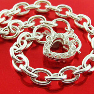 Padlock Bracelet Real 925 Sterling Silver Diamond Simulated Heart Charm Bangle