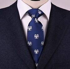 Navy Blue With Roman Inherent Symbolic Double Wings Eagle Emblems Classic Tie