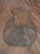 Jigsaw London Gray/Silver Crochet Knit Bag Hobo Handbag NWT
