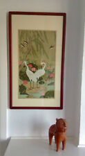 Japanese traditional Kazuro Tozuka birds Garden of White Herons print from silk