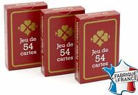 Lot de 3 - Jeux de 54 Cartes France - Jeux de Carte poker - Gauloise rouge
