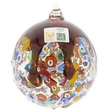 GlassOfVenice Murano Glass Venetian Mosaic Christmas Ornament - Red