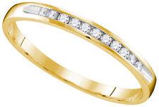 10k Yellow Gold Round Diamond Wedding Anniversary Bridal Band Ring 1/10 Cttw