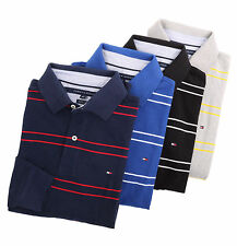 Tommy Hilfiger Men Long Sleeve Classic Fit Stripe Rugby Polo Shirt -$0 Free Ship
