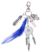 1x Chic Dream Catcher Charm Feather Stone Pendant Keyring Purse Bag Car Keychain