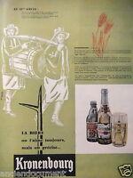 PUBLICITÉ 1957 BIERE KRONENBOURG AU 19éme BRASSEURS DE BIÈRES DE PÈRE EN FILS