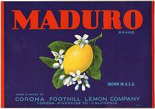 *Original* MADURO Riverside Corona Foothill Lemon Blossoms Label NOT A COPY!