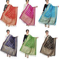 Women's Khadi Silk Dupatta New Traditional Ethnic Fashion Scarf Wrap Shawl