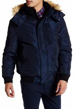 NWT $300 Andrew Marc Knox Faux Fur Men's Trimmed Bomber Down Jacket Blue Large L