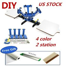 US 4 Color 2 Station 4-2 Silk Screen Printing Machine DIY T-Shirt Press Printing