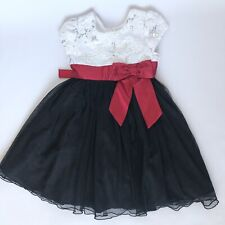 Jona Michelle Sz 6 Girls Fancy Dress White Silver Red Bow Black Glitter Tulle