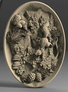 3D STL Model Squirrels & Tree for CNC Router 3D Printer Engraver Carving Aspire
