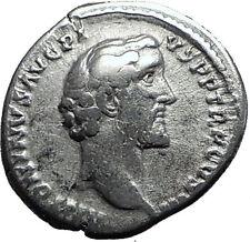 Antoninus Pius Father of Marcus Aurelius 138AD Silver Ancient Coin Genius i60001