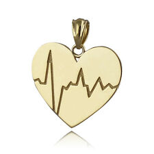 Heartbeat Pendant - Solid 10k Yellow Gold - Heart Beat Love Charm EKG Gift NEW