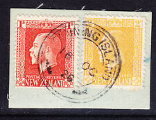 GILBERT & ELLICE IS Stamps on NZ with FANNING ISLAND pm - rare v/f/u - on piece