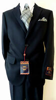 CARLO LUSSO Solid Dark Navy Blue Two Button Men's Suit Flat Front Pants