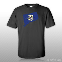 Connecticut State Shaped Flag T-Shirt Tee Shirt Free Sticker CT