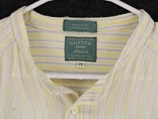 BAXTER BRAND Vtg Natural Yellow Striped Henley Tunic Button Shirt Men's Large