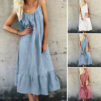 UK Womens Summer Sleeveless Ruffles Hem Beach Sun Dress Ladies Long Maxi Dress