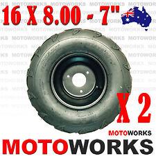 "2x 16 x 8.00 - 7"" inch Front Rear Wheel Rim Tyre Tire Quad Bike ATV Buggy Gokart"
