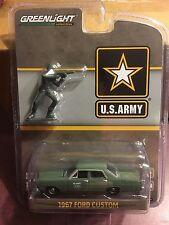 Greenlight Hobby Exclusive 1967 Ford Custom Sedan U.S. ARMY  w/ plastic figure