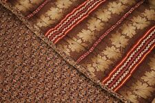 Quilt Antique French madder brown textile c 1840 82X82 large old brown paisley