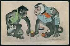 dressed Monkey gambling Dice original old 1900s postcard
