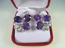 AMETHYST/WHITE SAPPHIRE EARRINGS 15.56 CTW - WHITE GOLD over 925 STERLING SILVER