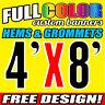 4' x 8' Full-Color Custom Banner, 13oz Vinyl -FREE GROMMETS Free Graphic Design